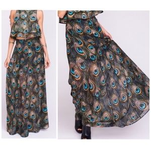 NWOT SMYM Princess Di Feather Fan Maxi Skirt S